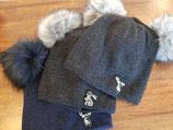 Winter Mütze mit Doppel Bommeln B3 für Mama und Kind