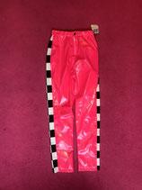 Pink side checkered lacquer pants