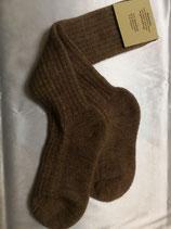 Alpakakniestrumpf mit Plüschsohle beige