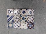 Lot de 12 Anciens Carreaux référence AB49 Patchwork Faience de Desvres 11cm ×11cm