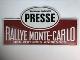 PLAQUE PRESSE RALLYE MONTE CARLO DES VOITURES ANCIENNES
