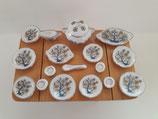 17pc Ceramic Oriental Blue & Yellow Floral Serving Set