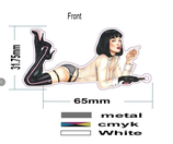 """multifunctional Emaille Pin """"Mia Wallace has a gun"""""""