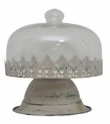Kuchenplatte mit Glasdeckel, weiss/transparent