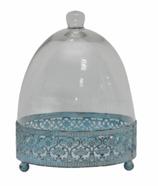Kuchenplatte mit Glasdeckel, türkis/transparent