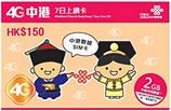 中国/香港データ 4G中港7日網卡・中国・香港 7日/2GBプリペイドSIMカード