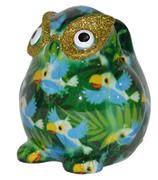 Brillenhalter Eule, grün mit Papageien
