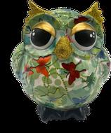 """Eule """"Olive"""" grün mit Schmetterlingen     - NEUHEIT -"""