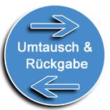 Retourelabel für Umtausch oder Rückgabe (nur nicht individuell angefertigte Artikel) innerh. DE