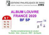 Feuilles France Louvre 2020 pour blocs Gravure - de Gaulle et feuillets Boris Vian - RN7