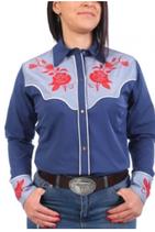 Chemise bleue fleurs rouges
