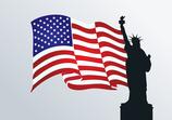 Freiheitsstatue mit Flagge