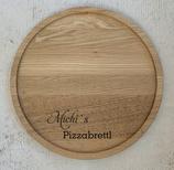 Personalisiertes Pizzabrett groß mit Wunschgravur - Eiche