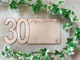 Karte aus Echtholz - Glückwünsche zum 30. Geburtstag