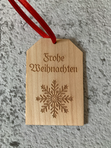 """Geschenkanhänger Ahorn - Frohe Weihnachten """"Schneeflocke"""""""