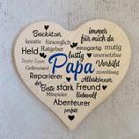 """Wandbild """"Papa"""" Herz aus Ahornholz"""