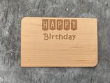 "Geburtstagskarte aus Echtholz ""Happy Birthday"" - 1"