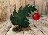 """Weihnachtsdeko Christbaum """"Krummer Hund"""" Größe M aus Holz - grün"""