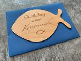 Karte / Einladung aus Echtholz zur Taufe, Kommunion, Konfirmation - FISCH