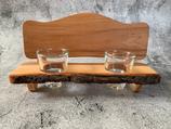2er Schnapsbankerl mit Gläser aus Apfelbaumholz mit Waldkante - Unikat