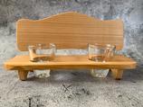2er Schnapsbankerl mit Gläser aus Kirschbaumholz mit Waldkante - Unikat #2