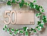 Karte aus Echtholz - Glückwünsche zum 50. Geburtstag