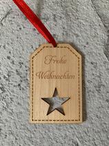 """Geschenkanhänger Ahorn - Frohe Weihnachten """"Stern"""""""
