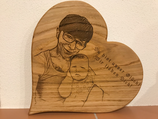 Herz aus Eichenholz mit Gravur