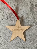 """Geschenkanhänger Ahorn klein - Frohe Weihnachten """"Stern"""""""