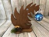 """Weihnachtsdeko Christbaum """"Krummer Hund"""" Größe M aus Holz - Augen"""