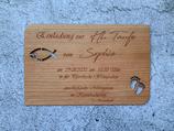 Karte / Einladung aus Echtholz zur Taufe, Kommunion, Konfirmation
