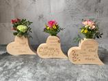 "Blumenvase ""Herz-Design 2"" - Zirbe - inkl. Gravur"