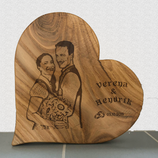 Herz aus Eichenholz mit Fotogravur