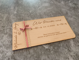 Karte / Einladung aus Echtholz zur Hochzeit - zweiseitig graviert