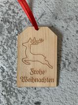 """Geschenkanhänger Ahorn - Frohe Weihnachten """"Elch 2"""""""