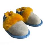 Babyslof van Schapenvacht blauw geel