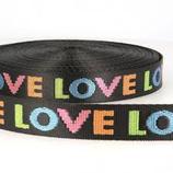 Taschengurtband Love 25 mm