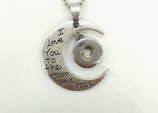 Pendentif Lune I love you to the moon and back 12mm