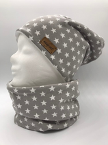 Beanie & Loop GREY & LITTLE white STARS