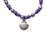 scallop satin bracelet - purple