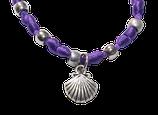 Jakobsmuschel Satinarmband - purpur
