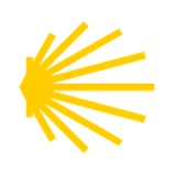 Aufkleber Jakobsmuschel transparent-gelb