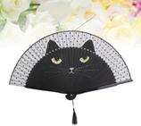 DER Fächer Seide schwarz Katze