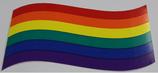 Regenbogenflagge Aufkleber geschwungen groß, ca. 8,0x13,0 cm