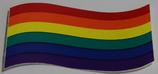 Regenbogenflagge Aufkleber geschwungen klein, ca. 5,0x7,0 cm