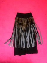 Black buttoned faux leather fringed pencil skirt long
