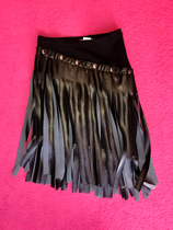 Black buttoned faux leather fringed pencil skirt short