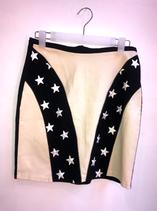 Vintage Licorice black eggshell white embroidered star skirt