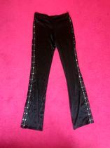 Vintage black shiney buttoned bootcut pants