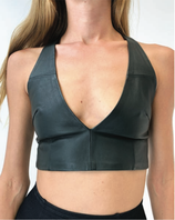 Black Leather V-top